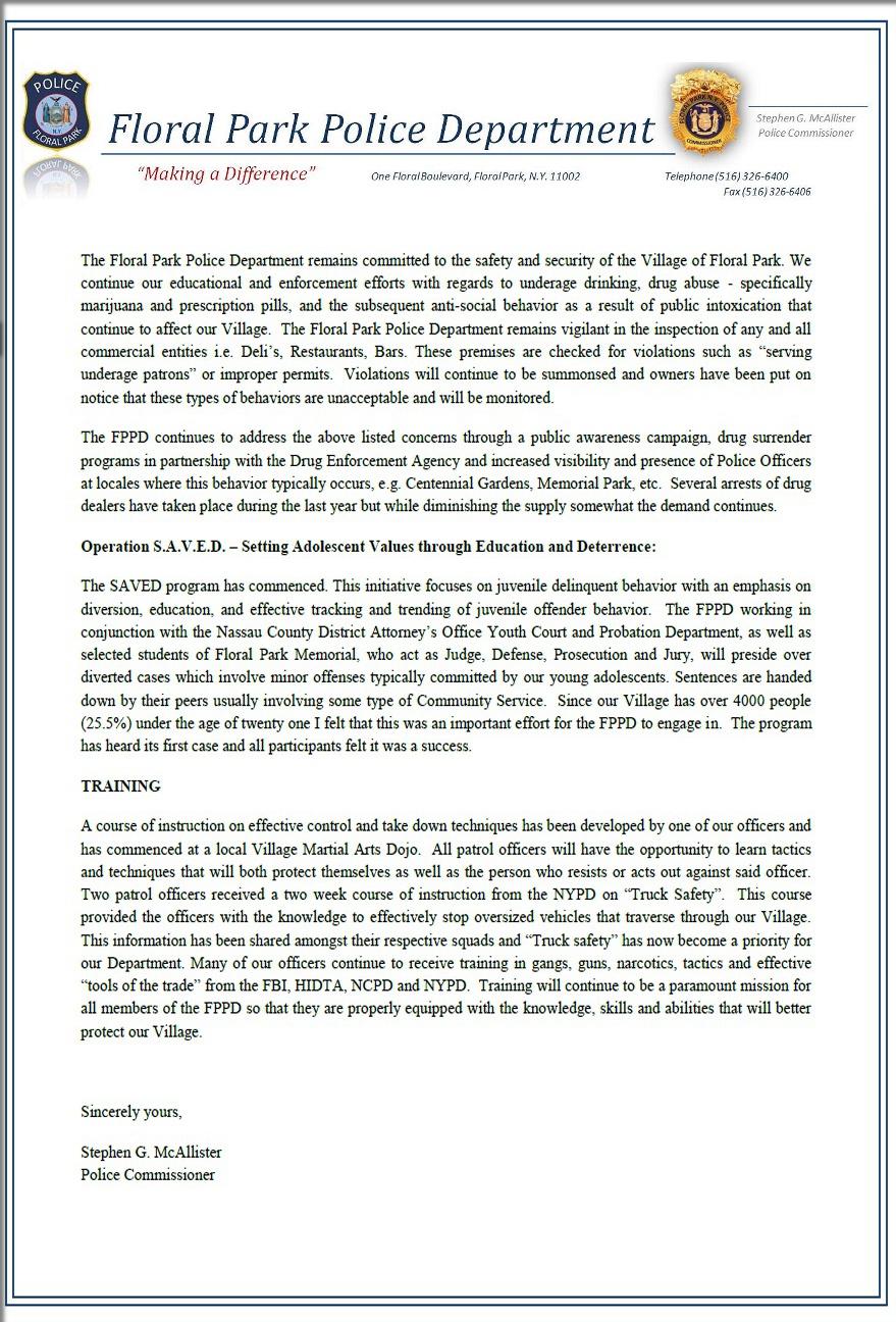 Floral Park Police Commissioner Statement