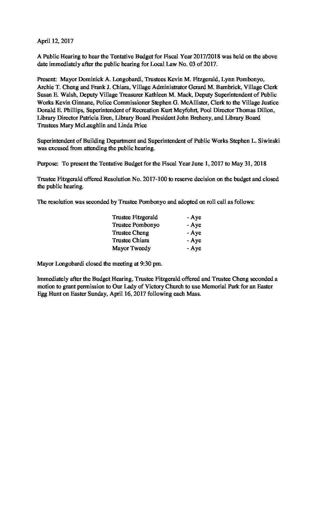 Minutes - 4-12-2017 Budget Hearing