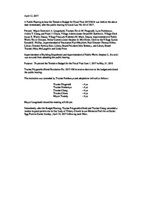 Budget Hearing minutes 4-12-2017