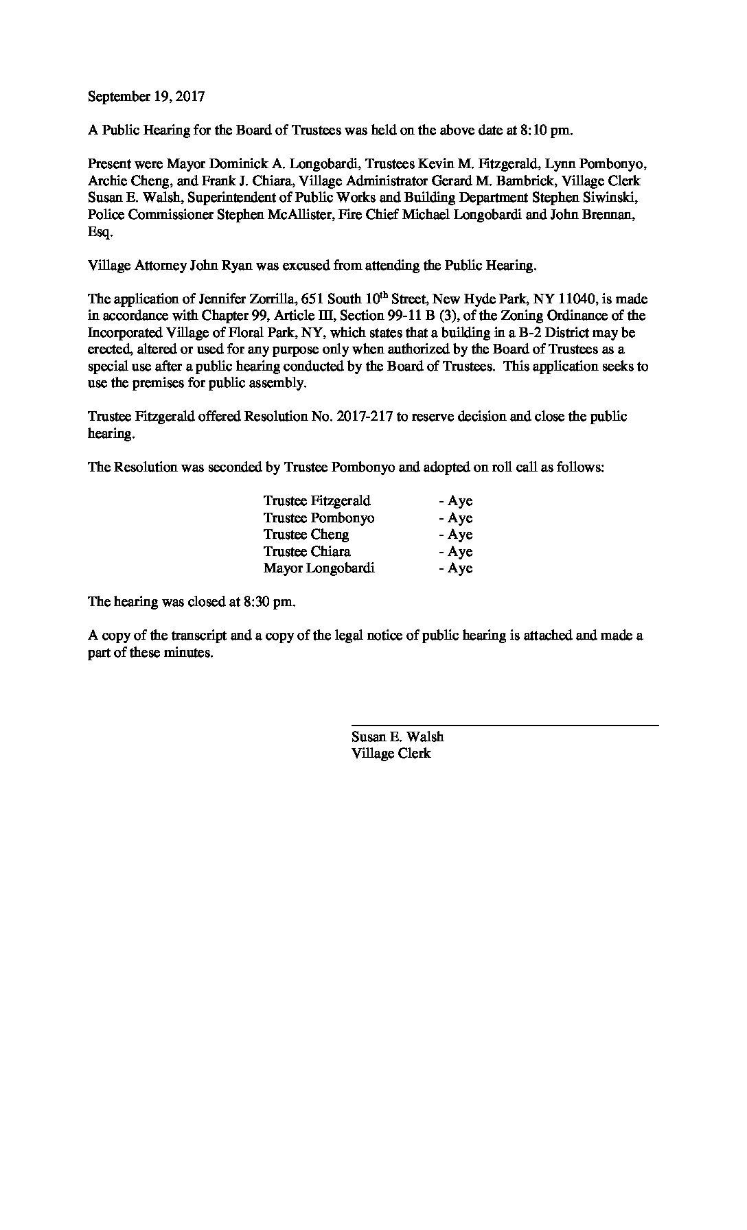 Minutes - 09-19-2017 Public Hearing Jennifer Zorrilla, 230 Jericho Turnpike