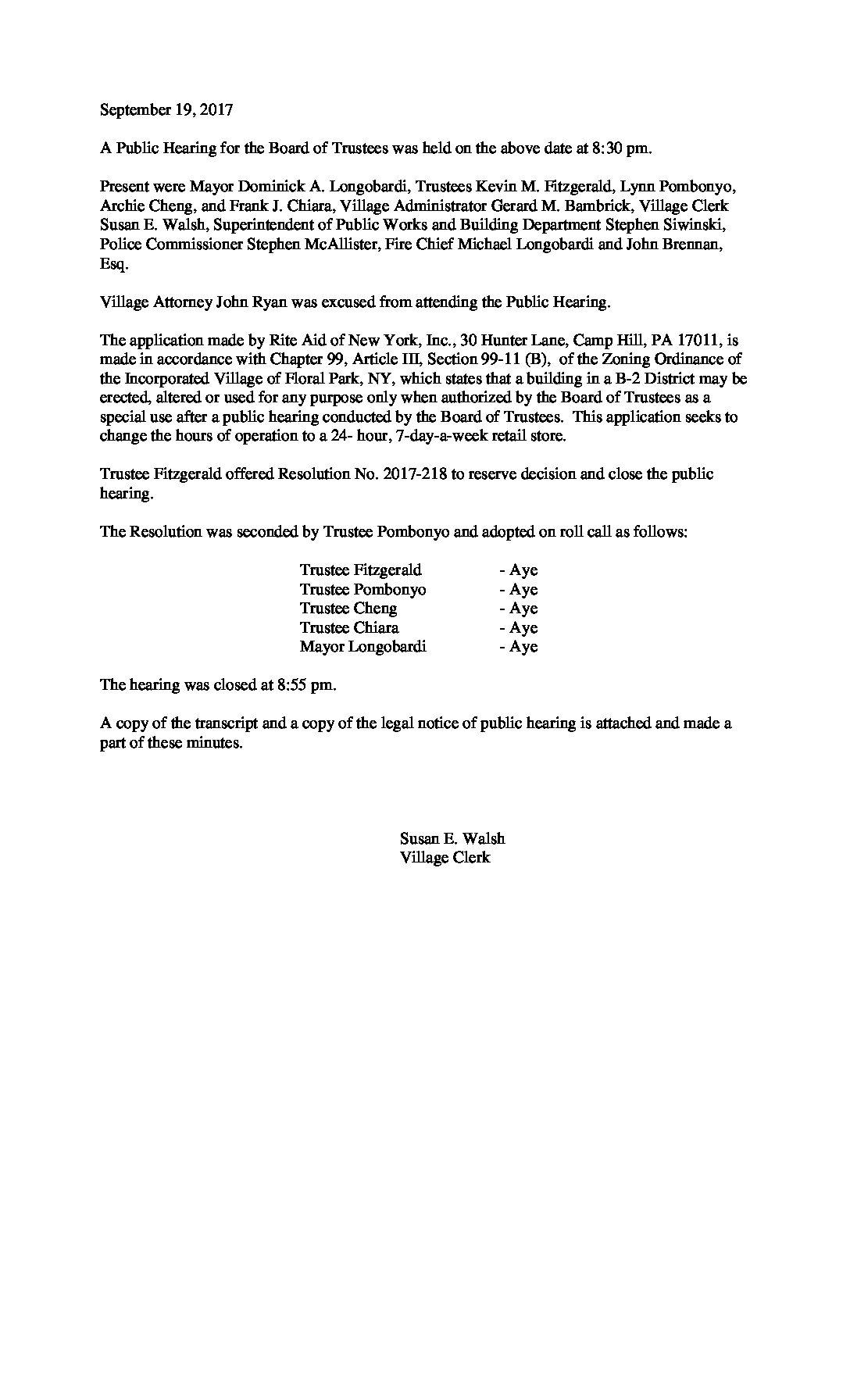 Minutes - 09-19-2017 Public Hearing Rite Aid, 2 Whitney Avenue