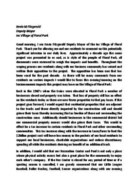 Statement from Deputy Mayor Fitzgerald