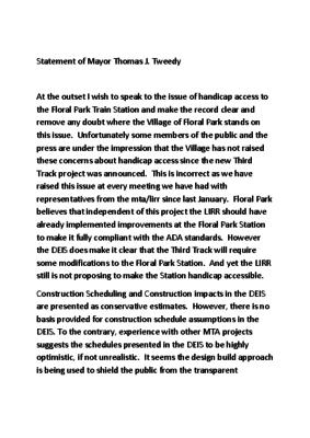 Statement from Mayor Tweedy