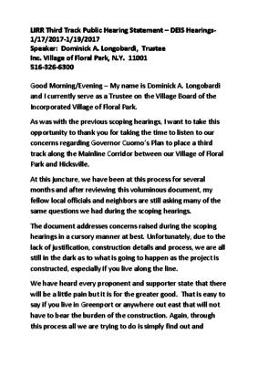 Statement from Trustee Longobardi