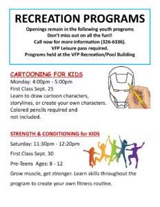 Recreation Program Openings