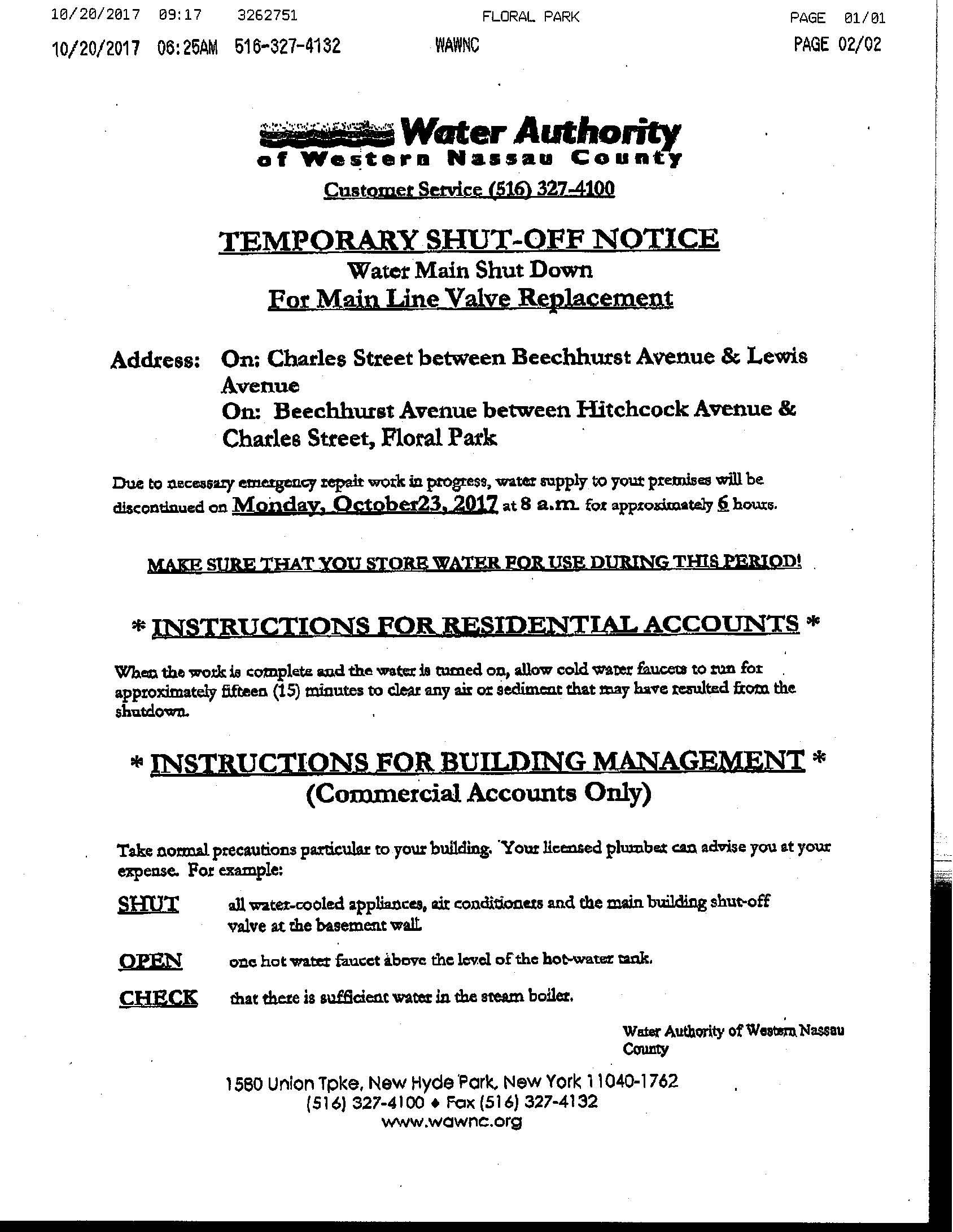 Water Authority Notice