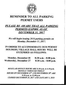 2018 Parking Permits
