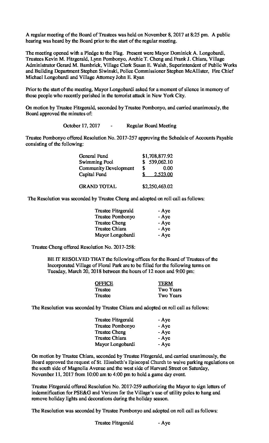 Minutes - 11-08-2017 Board of Trustees Meeting