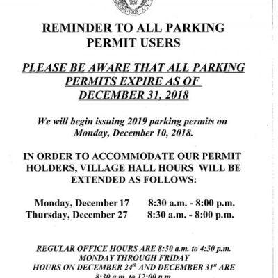 2019 Parking Permits