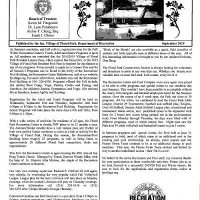 Floral Park Fall Recreation News