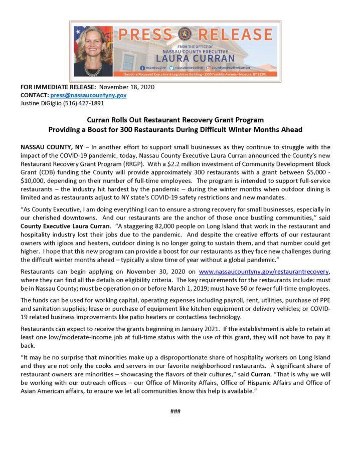 Restaurant Recovery Press Release November 18, 2020