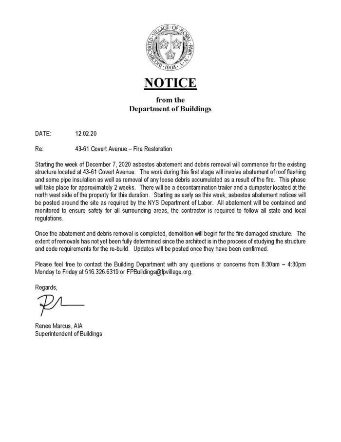 Building Department Notice for 43-61 Covert Avenue – Fire Restoration
