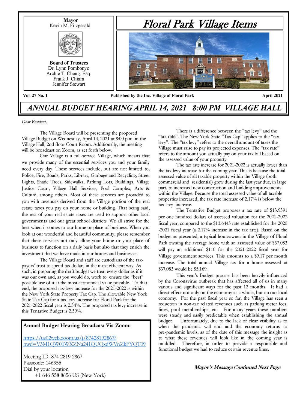 2021/2022 Tentative Budget & April Village Items